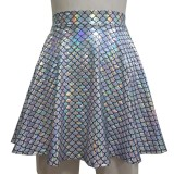 Summer Musical Festival Outfits Holographic Mermaid High Waisted Flare Skater Skirt