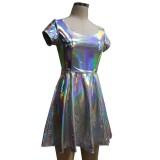 Summer Silver Holographic Skater Dress Women Music Festival Rave Dress Clothes Outfits Vintage Boho Dresses Cute Dress