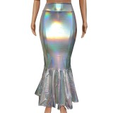 Iridescent Holographic Mermaid High Waisted Maxi Long Skirts Halloween Costumes