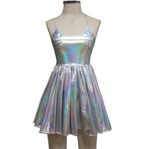 Summer Musical Festival Rave Clothes Holographic Wrap Circle Skater Dress