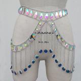 Burning Man Festival Rave Holographic  GLass Stone Crystal Chain Skirt