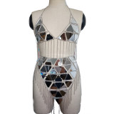 Burning Man Costumes Holographic Mirror Fringe Rave Crop Top Skirt Outfits Burning Man Festival Clothings Gear Sexy Body Chain