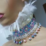 Handmade Holographic Costumes Burning Man Festival Rave Mermaid Pearl Feather Choker Necklace Collar