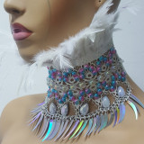 Handmade Holographic Costumes Burning Man Festival Rave Feather Choker Necklace Collar