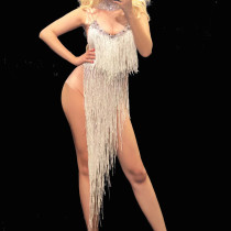 Drag Queen Costumes Fringe Latin Dance Dress Rhinestones Long Evening Party Dresses Sexy Celebrity Red Carpet Dress