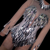 Drag Queen Costumes Mirror Fringe Jumpsuit Rhinestone Buring Man Bodysuit Latin Dancer Costumes Women Outfit Birthday Party Wear