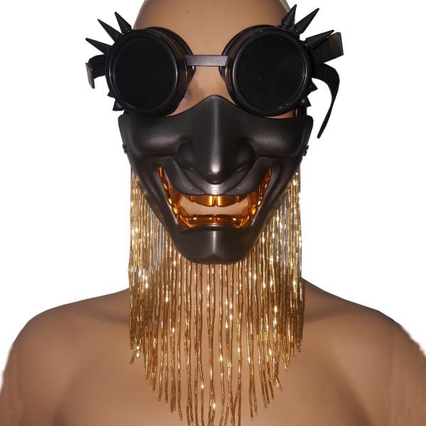 Burning Man Festival Halloween Devil Glass Fringe Skull Goggles Face Mask