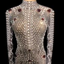See Through Mesh Full Pearl Crystals Jumpsuit Rhinestone Bodysuit Drag Queen Costumes Women Outfit Birthday Party Wear