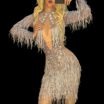 Sexy Drag Queen Costumes Rhinestone Event Party Fringe Dresses Sparkling Tassel Performance Costumes Dance Outfits