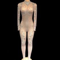 Celebrity Rhinestone Sexy See Through Bodysuit Drag...