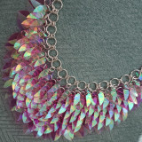Burning Man Scale Mail Gorget Choker Dragonscale Iridescent Necklace Armour Cosplay