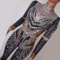 Drag Queen Costumes Rhinestone Sparkly Bodysuit Jumpsuit Celebrity Singer Stage Wear Runway Women Outfit Birthday Party Wear