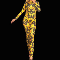 Drag Queen Costumes Sexy Tattoo Baroque Print Bodysuit Jumpsuit Celebrity Runway Outfit Birthday Party Wear