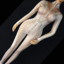 Drag Queen Costumes Stage Dance Wear White Lace Rhinestone Bodysuit Nighclub Party Singer Dancer Stage Performance Clothes