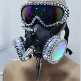 Holographic Burning Man Studded Spike Streampunk Gas Face Mask Dancer Costumes Show Festival Rave Outfits Gear Halloween Masquerade