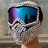 Holographic Iridescent Burning Man Accessies Studded Full Face Mask Helmet Costume Fashion Stage Show Summer Festival Rave Gear
