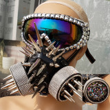 Burning Man Studded Spike Streampunk Goggles Gas Face Mask Dancer Costumes Show Festival Rave Outfits Gear Halloween