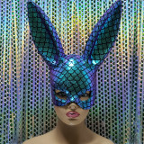 Burning Man Holographic Iridecent Mermaid Scale Bunny Couture Face Mask Dancer Show Costume Festival Rave Outfits Gear Halloween Masquerade