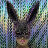 Burning Man Holographic Iridecent Spike Bunny Couture Face Mask Dancer Show Costume Festival Rave Outfits Gear Halloween Masquerade