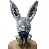 Burning Man Studded Spike Bunny Couture Face Mask Streampunk Dancer Show Costume Festival Rave Outfits Gear Halloween
