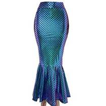 Halloween Costumes Iridescent Holographic Mermaid Party Supplier High Waisted Maxi Long Skirts Bottoms