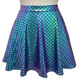 Rave Bottoms Outfits Iridescent Green Mermaid Party Supplies Holographic High Waisted Flare Skater Skirt