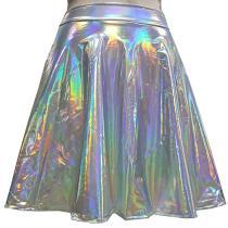 Burning Man Summer Rave Rainbow Holographic Unicorn High Waisted Flare Skater Skirt Bottoms Outfits