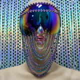Burning Man Rave Festival Holographic Iridescent Goggles Chain Mask Headpiece Head Dress