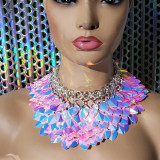 Burning Man Pink Holographic ScaleMaille Gorget Choker Dragonscale Iridescent Necklace Armour Gothic Cosplay