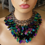 Burning Man Black Holographic ScaleMaille Gorget Choker Dragonscale Iridescent Necklace Armour Gothic Cosplay