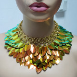 Burning Man Gold Holographic ScaleMaille Gorget Choker Dragonscale Iridescent Necklace Armour Gothic Cosplay