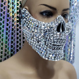 Burning Man Rave Costumes Streampunk Halloween Silver Studded Skull Mask Cosplay Festival Clothes Outfits