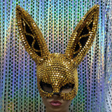 Holographic Burning Man Studded Bunny Couture Face Mask Dancer Costume Festival Rave Outfits Gear Halloween Masquerade