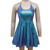Summer Musical Festival Rave Clothes Holographic Iridescent Mermaid Scale Wrap Circle Skater Dress