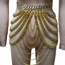 Burning Man Costumes Rave Gold Rhinestone Chain Skirt Bottoms Singer Stage Performance Wear Drag Queen Fashion Show