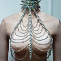 Burning Man Festival Clothes Holographic Spike Choker Chain Outfits