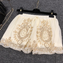 Gypsy Bohemia Style Pearl Lace Beaded Embroidery Rave Booty Shorts Bottoms Outfits