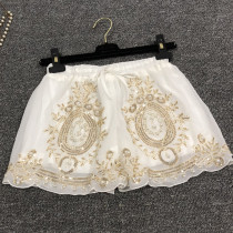 Gypsy Bohemia Style White Lace Beaded Embroidery  Rave Booty Shorts Bottoms Outfits