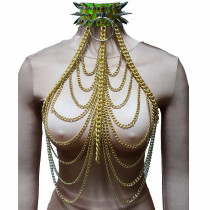 Burning Man Festival Clothes Holographic Spike Choker Gold Chain Outfits