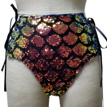 Sexy Summer Women Holographic Iridescent Mermaid Sequin Rave Hight Waisted Laced Up Shorts Bottoms