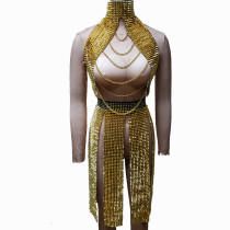 Gold Summer Musical Festival Rave Spike Outtfits Gear Clothes Drag Queen Costumes Singer Stage Dance