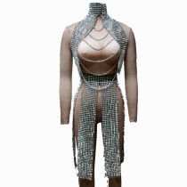 Silver Summer Musical Festival Rave Spike Outtfits Gear Clothes Drag Queen Costumes Singer Stage Dance