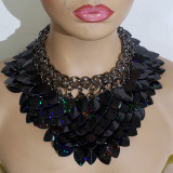 Burning Man Black Holographic Glitter ScaleMaille Gorget Choker Dragonscale Iridescent Necklace Armour Gothic Cosplay