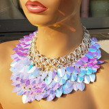 Burning Man Blue Holographic ScaleMaille Gorget Choker Dragonscale Iridescent Necklace Armour Gothic Cosplay