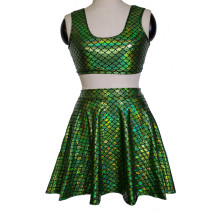 Summer Women Rave Festival Holographic Iridescent Green Mermaid Scale Top Skirt Cosplay