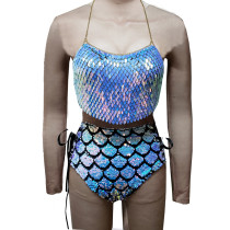 Burning Man Rave Festival Clothes Sexy Holographic Iridescent Halter Scales Sequin Crop Top Women Beach Backless Nightclub Party High Quality Boho Handcrafted Short Tops