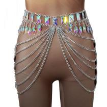 Burning Man Festival Rave EDC Holographic GLass Stone Crystal Chain Skirt Bottoms