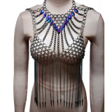 Burning Man Rave Festival Clothes Sexy Holographic Iridescent Halter ScaleMaille Fringe Crop Top Women Boho Handcrafted Tops