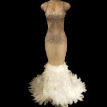 Drag Queen Costumes Lux Rhinestones Feather Sexy Prom Nightclub  Sleeveless Long Maxi Dress Celebrate  Birthday Dresses