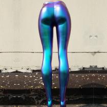 Burning Man Rave Festival Clothings Iridescent Green Holographic High Waist Pant Yoga Pants Leggings